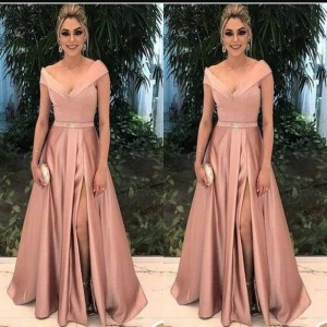 Elegant Mother of the Bride Dresses for Weddings Party Gowns A-Line Satin Pleat Formal Godmother Groom Long Dress Wear 2019