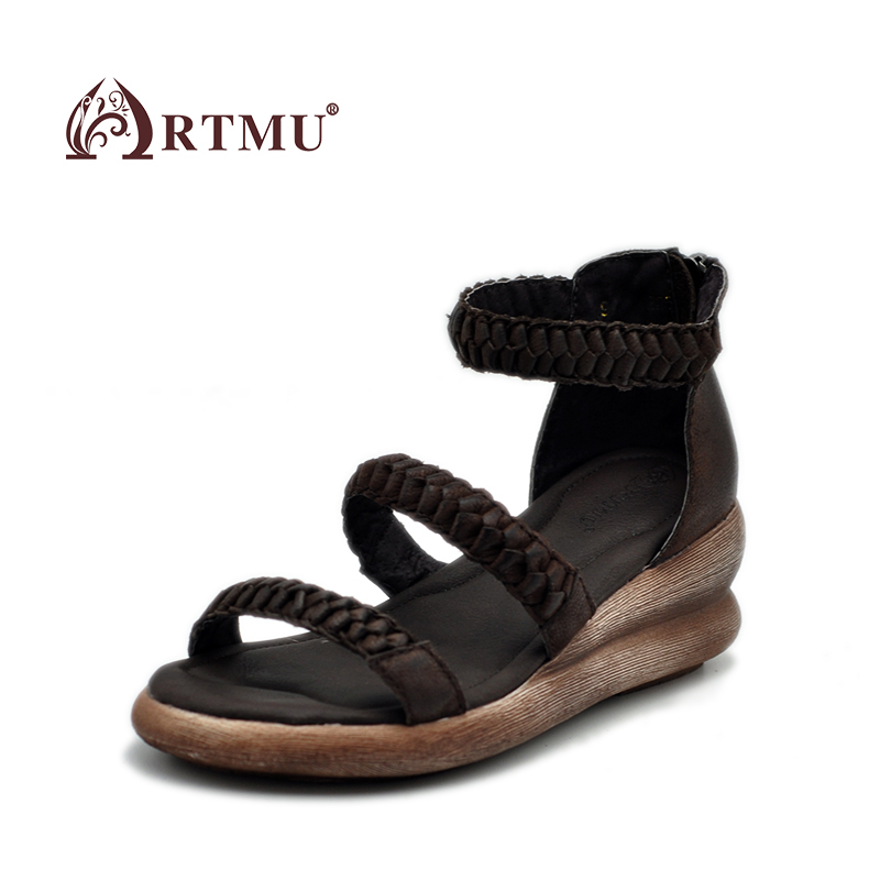 Artmu 2017 New Gladiator Women Sandals Wedges Handmade Leather shoes woman,Zip Sandals Platform Open Toes Genuine Leather Shoe phyanic 2017 gladiator sandals gold silver shoes woman summer platform wedges glitters creepers casual women shoes phy3323