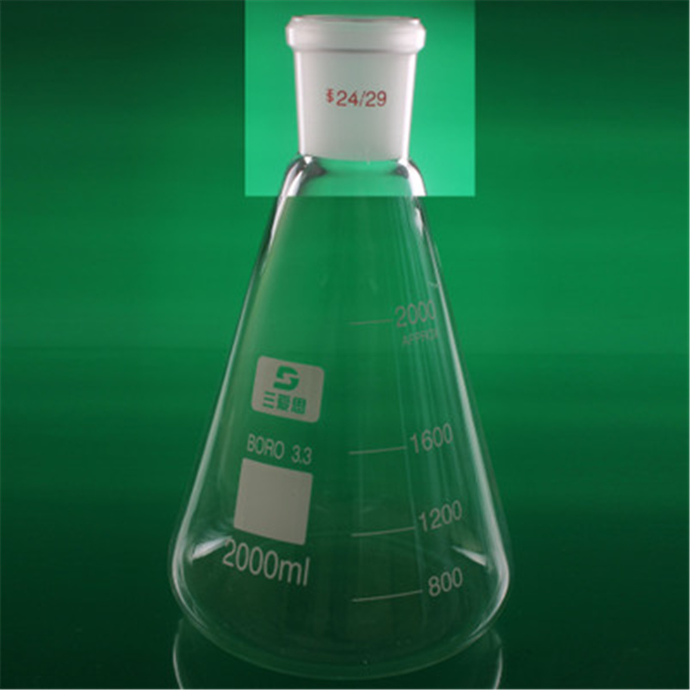 2000ml 24/29 High Borosilicate  3.3 Glass Erlenmeyer Flask ,Conical Vessel Laboratory Glassware supplies