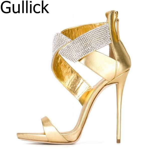 Women Summer Sexy Crystal Cross Strap High Heel Sandals Fashion Strange Style Cut-out Peep Toe Back Zipper Thin Heel Dress Shoes hot sale crystal embellished strappy sandals beige suede cut out cage shoes for women back zipper high heel summer dress shoes