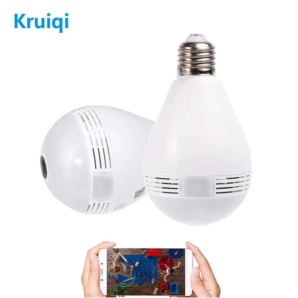 Kruiqi 1080P VR Panoramic Bulb Light LED IP Camera With 360 Degree Fisheye Wireless Wifi Camera For Home Security System Camera