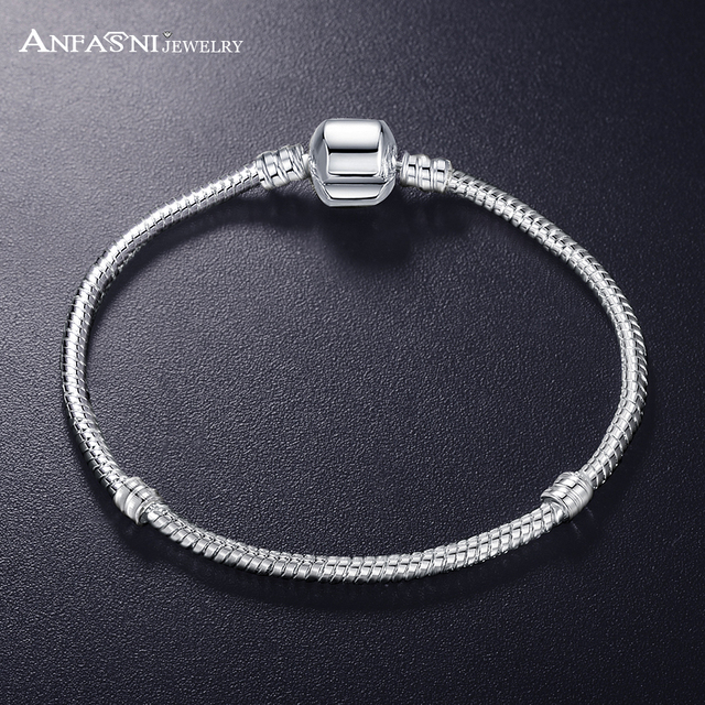 ANFASNI New Fashion Love Snake Chain Silver Color Fit Original Charm Bracelet Bangle Charm Bead For Women Gift 17CM-21CM 1