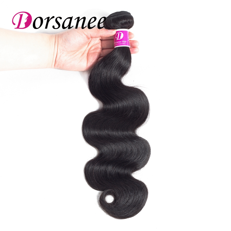 Dorsanee Peruvian Body Wave 1piece 100% Human Hair Weave Bundles Natural Color Non Remy Hair Extensions Can Buy 3 or 4 Bundles