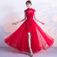Red Traditional Wedding Bride Cheongsam Dress Modern Chinese Qipao Dresses Robe Mariee Traditionnel Chinois Oriental Collars
