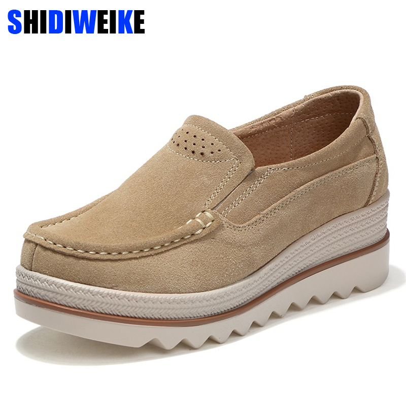 SHIDIWEIKE 2019 Autumn women flat shoes thick soled platform shoes   leather     suede   casual shoes slip on flats creepers