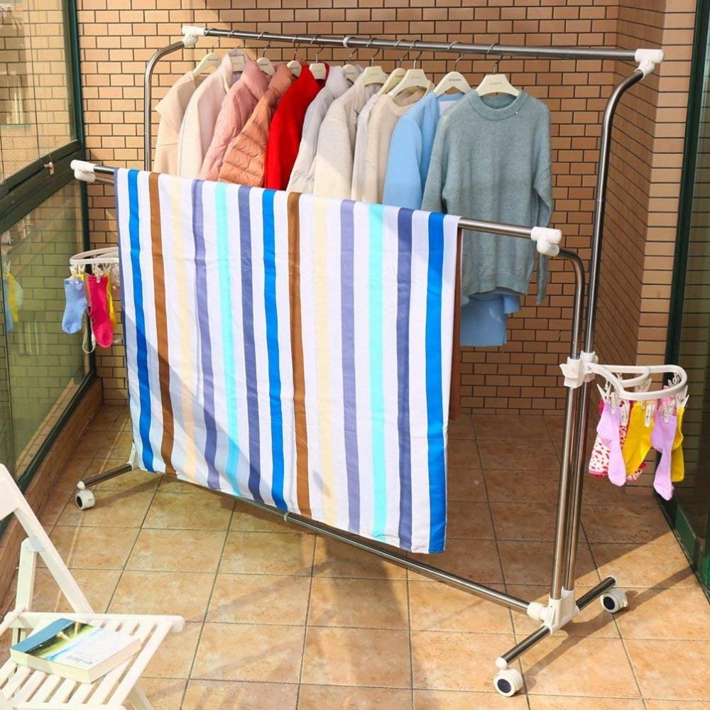 Mobile Vêtements Etendoir À Linge Porte Vêtement Extensible Rails de Roulement Réglable Vêtements Séchage Cintre avec 22 pièces Clips - 3
