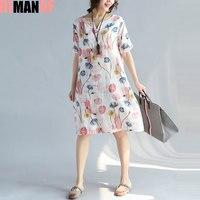 DIMANAF Women Dress Plus Size Summer Style V Neck Linen Floral Print Female Fashion Show Thin