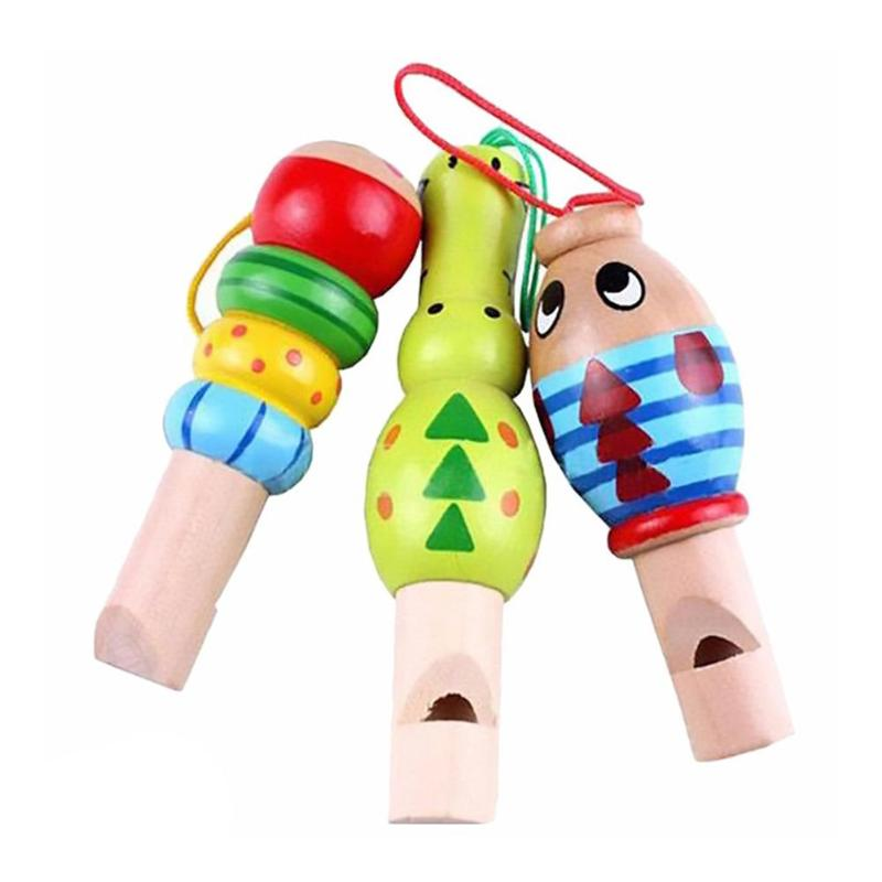 1Pcs Wooden Toys Cartoon Animal Whistle Key Hanger Early Education Music Instrument Toy For Baby Children Random Color