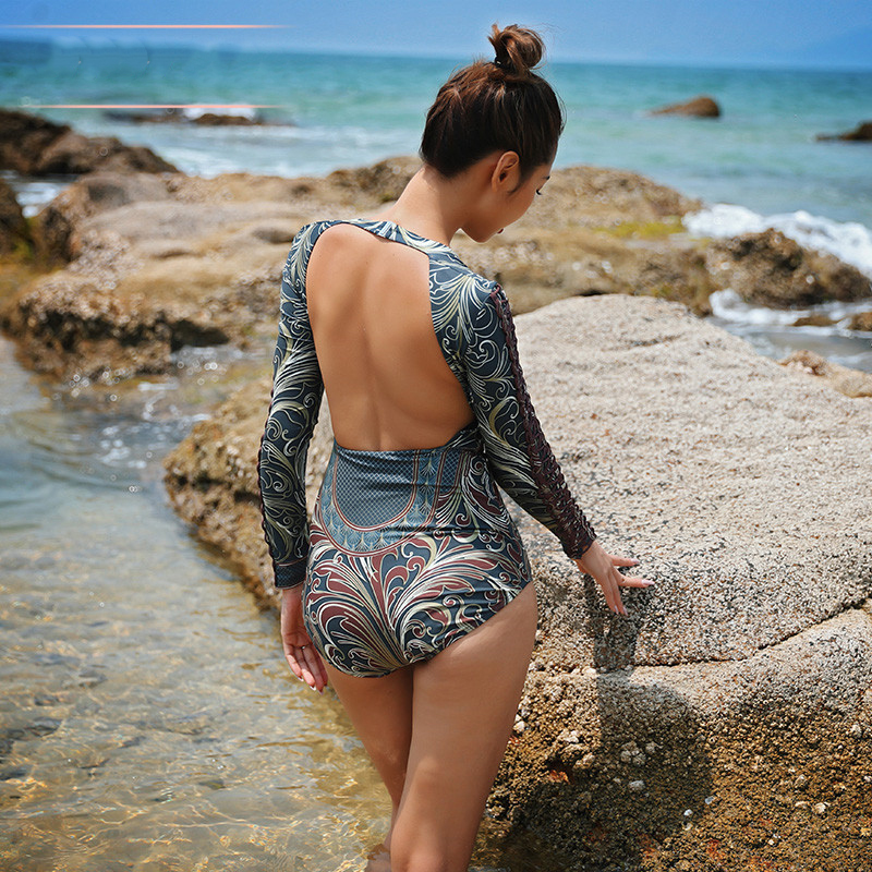 Rhyme Lady Women sexy backless Swimwear summer Long Sleeve Rash Guard girls print Swimsuit one piece surfing bathing suit S XL in Rash Guard from Sports Entertainment