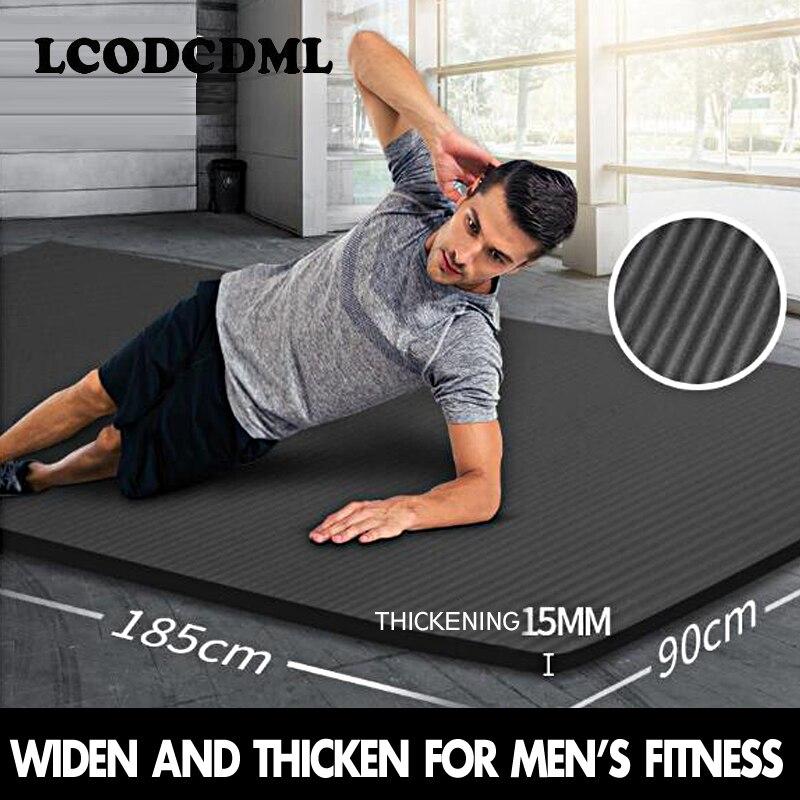 Thickening 15mm men s yoga mat beginner extended Yoga blanket widening 90cm sports fitness mat anti