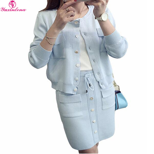 2017 Sweater Suit Female Spring New Korean Long Sleeve Women 2 Piece Sets Cardigan Sweater Skirt Suits Women Knitted Skirt Set