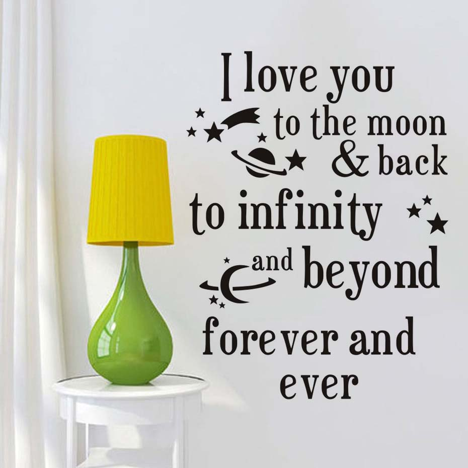 I Love You To The Moon And Back Quotes Wall Sticker
