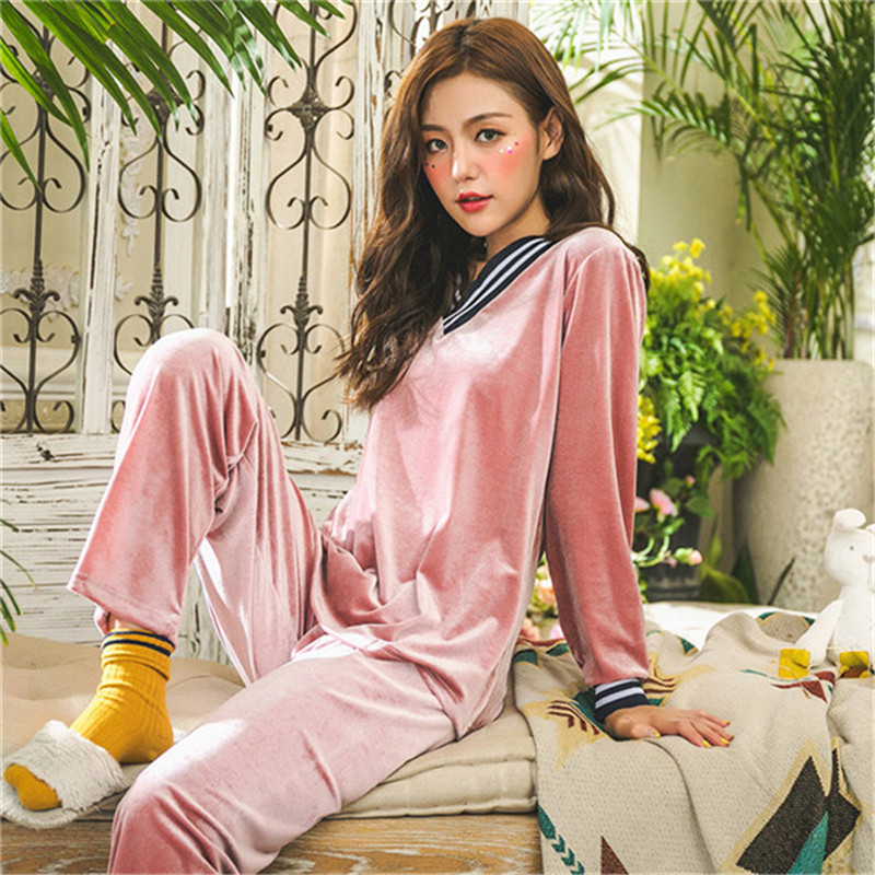 JULY'S SONG Winter Warm   Pajamas     Set   Women Sleep   Set   Deep Gold Velvet   Pajamas   Sleepwear Long Sleeves Homewear 2 Peice Nightwear