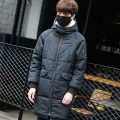 New 2016 winter thickening pure color cotton-padded long jacket men casual parka with hooded men's clothing size m-5xl MF12-2