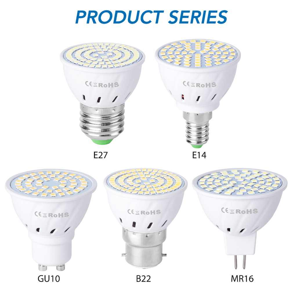 GU10 Led 220V светильник E14 Точечный светильник E27 кукурузная лампа 2835 SMD Bombillas светодиодные лампы MR16 Точечный светильник B22 4 Вт 6 Вт 8 Вт ампула GU5.3