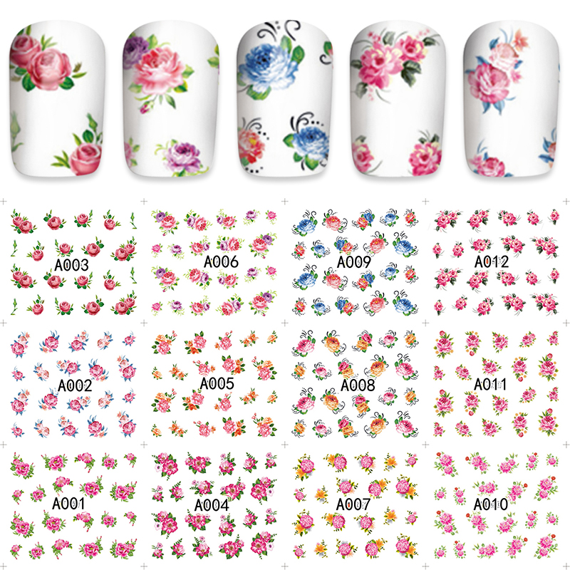 12pcs / Sheet Watermark Nail Stickers Mixed Flower Cartoon Nail Art Water Transfer Sticker Decals Manicure Wraps Decor 1 sheet beautiful nail water transfer stickers flower art decal decoration manicure tip design diy nail art accessories xf1408