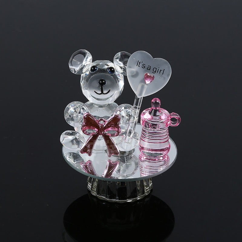 Baby Girl Christening Favors Glass Ornament: K5 Crystal Bear Nipple Baptism Baby Shower Souvenirs Party