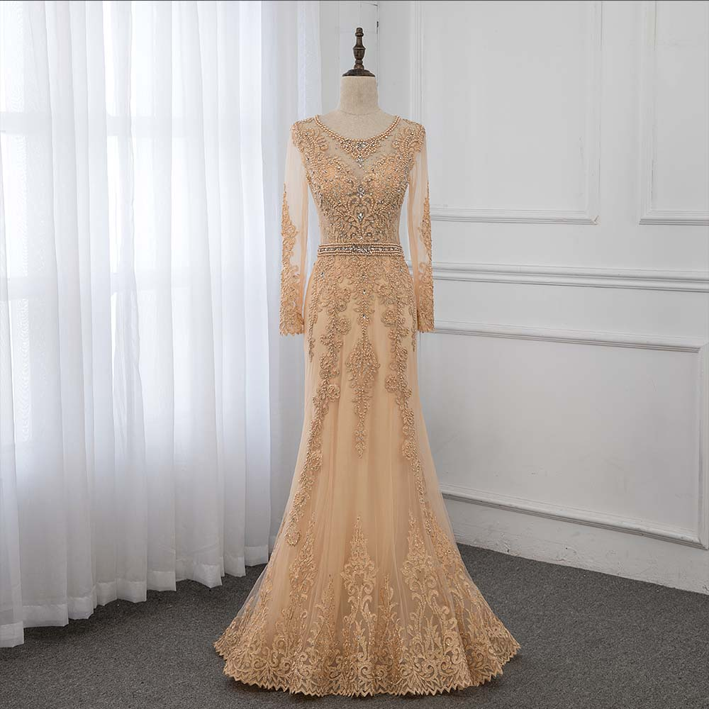 Gold Lace Full Sleeve Evening Gown Dresses Long Formal Appliques Crystals Women Party Dress Elegant YQLNNE