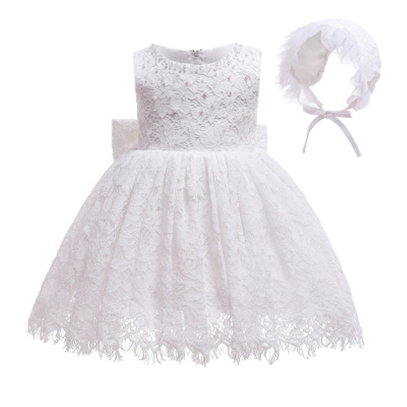 2019 New Lace Baby Girl Dress Wedding Baptismal Set Beads Party Dresses for Baby Christening Shower Dresses B104(China)