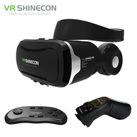 VR Shinecon 4 0 Virtual Reality 3D Glasses Headset VRBOX Headphone Stereo Mic Control Button For