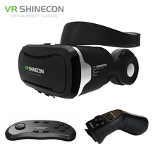 VR Shinecon 4.0 Stereo Virtual Reality Smartphone 3D Glasses Headset Google BOX + Headphone/Control Button for 3.5-5.5′ Mobile
