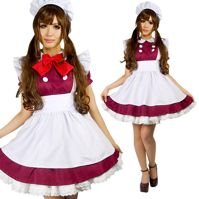 UTMEON Halloween Maroon Lolita Fancy Dress For Servant Women Adult Maid Uniform Sexy French Maid Costumes Cosplay