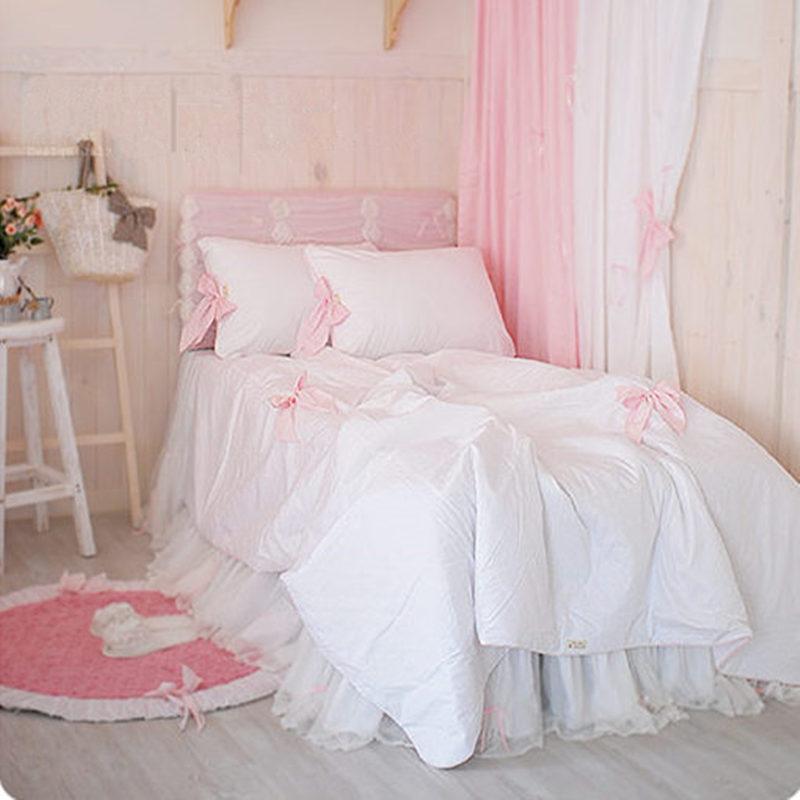 American Type Elegant White Dream Princess Bedding Set Ruffle Bow Duvet Cover Bedspread Bed