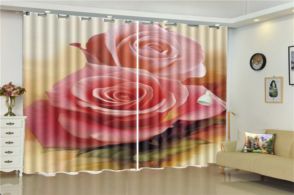 Wholesale Curtain For Living Room Two Delicate Roses HD Digital Print 3d Beautiful Blackout CurtainsWholesale Curtain For Living Room Two Delicate Roses HD Digital Print 3d Beautiful Blackout Curtains