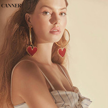Canner Gold Hoop Earrings For Women Big Red Heart Trendy Circle Geometric Jewelry 2019