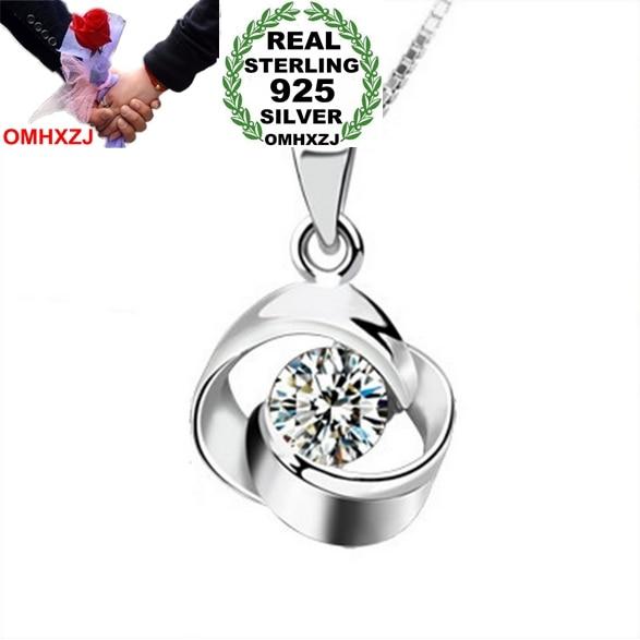 Omhxzj оптовая продажа круглый женщина любовь с первого взгляда поп-звезда AAA Циркон 925 серебро не цепь Цепочки и ожерелья подвеска Подвески PE09