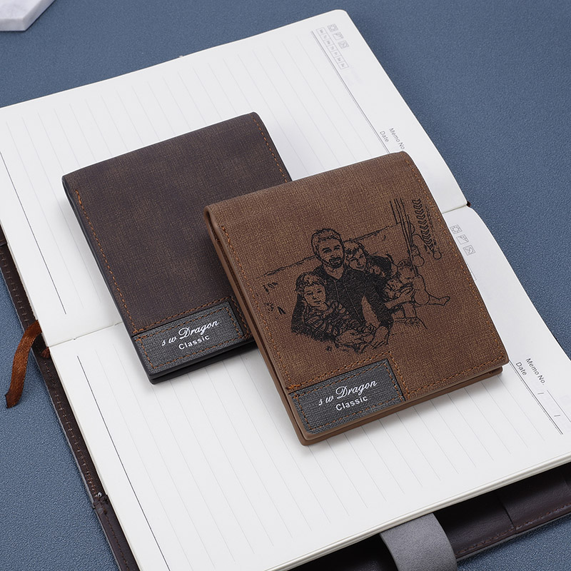 Custom Pattern Wallet Men Short Ultra thin Young Students Simple Fashion Diy Customized Photo Lettering Printing Picture Wallet in Wallets from Luggage Bags