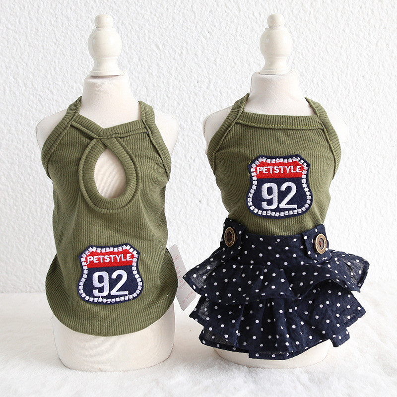 2019 Army Green Dog Dress Tutu Small Medium Dogs Clothes Personality Dresses Weeding Party Dress Vest Pug Poodle Bichon Clothing