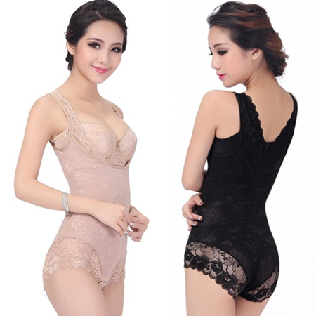 2015 New Wowen corset thin clothing lace gauze seamless elastic shaper drawing butt-lifting charcoal underwear Siamese bodysuit