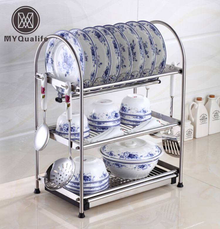 kitchen plate organizer desktop stainless steel dish rack plates drainer drying 2444