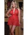 MOONIGHT Plus Size lingerie sexy vestido de noite lingerie erótica sleepwear conjunto pijama roupa vermelha para as mulheres XL 2XL 3XL 4XL