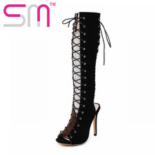 New Fashion Summer Boots Sexy Peep Toe Gladiator Shoes Woman Lace Up Charm Cutouts Knee High Boots High Heels Women Shoes
