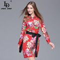 High Quality 2017 Summer New Fashion Silk Dress Women's Long Sleeve Runway Designer Red Floral Printed Silk Dress With Belt