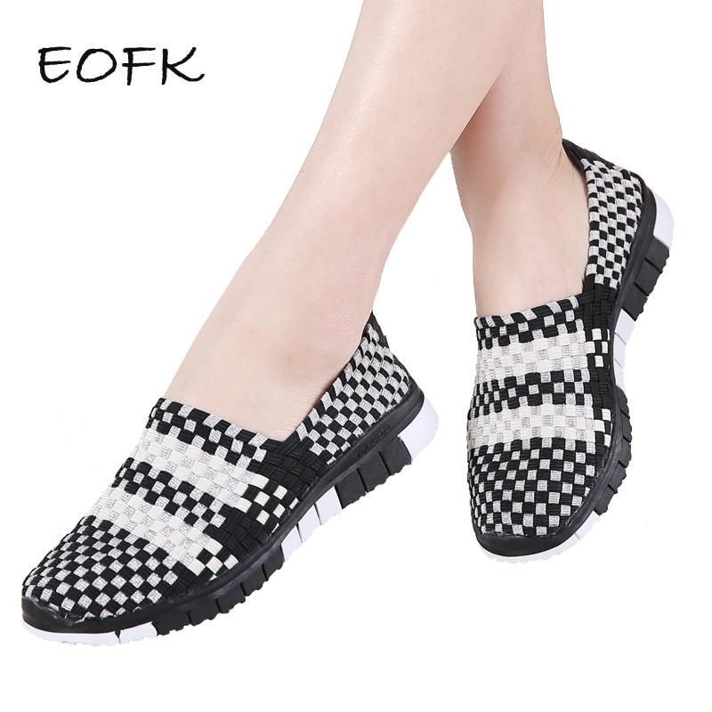 EOFK Women Flat Shoes Handmade Woven Mixed Colors Women s Loafers Shoes Woman Flats Women s