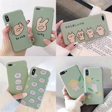 Cute simple animal pattern TPU matcha green phone case For iPhone 6 6S 7 8 Plus X XS XR XSMax