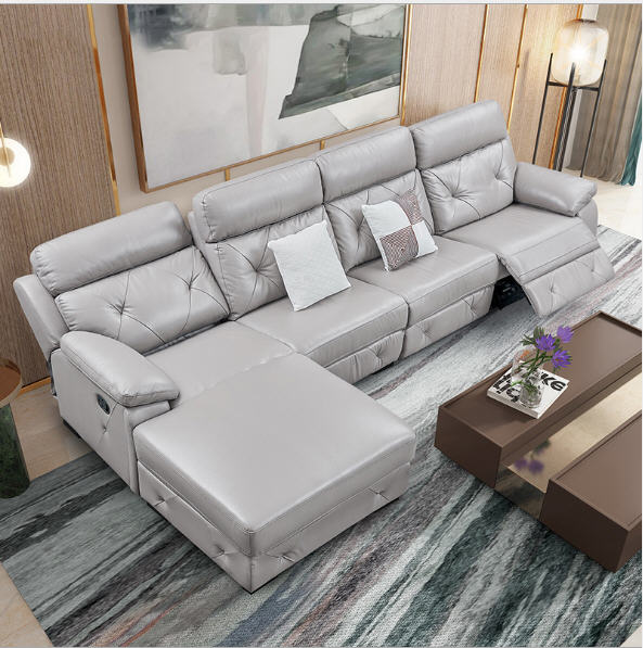 Living Room Sofa set corner sofa recliner manual real genuine ...