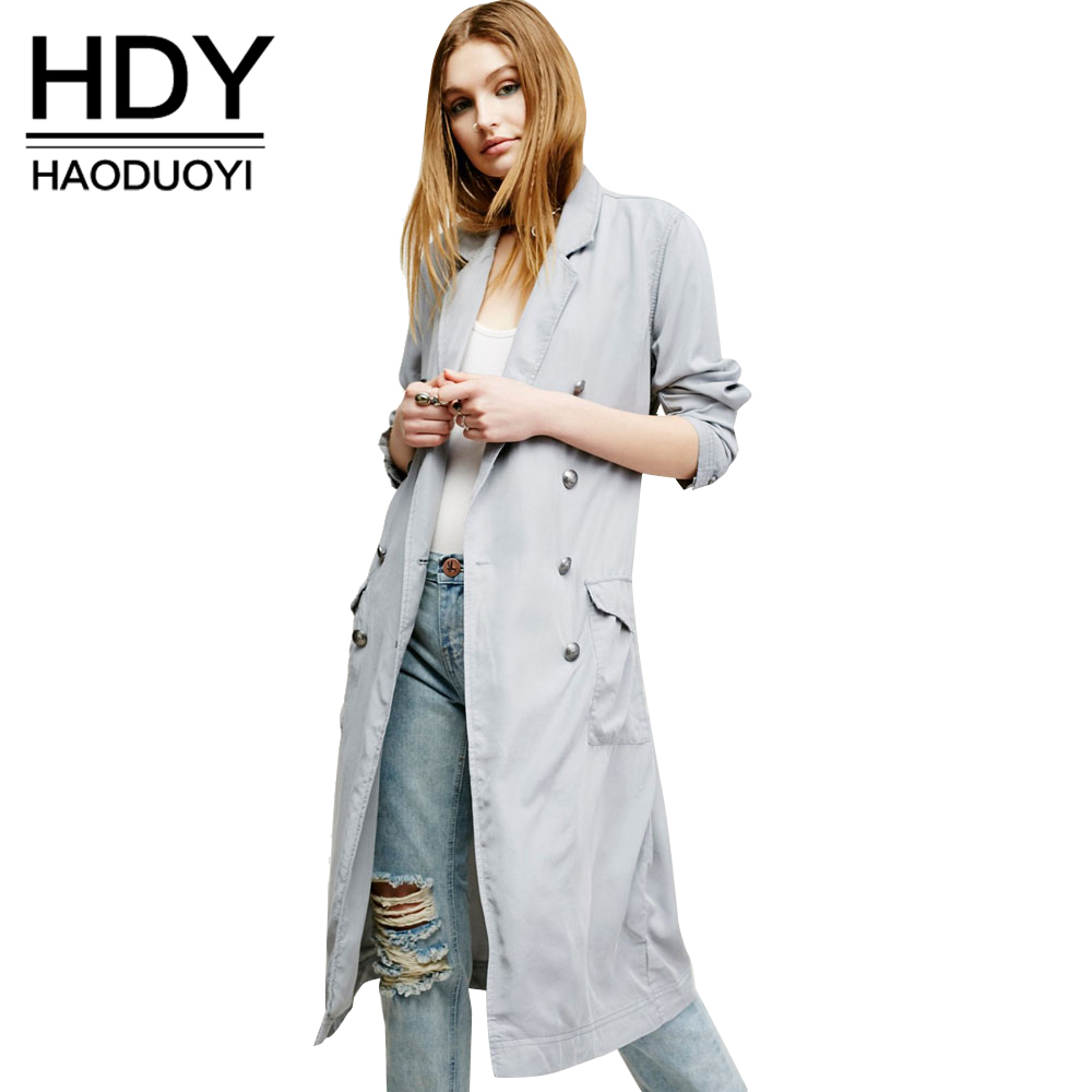 f79811e0379bc5 HDY Haoduoyi Fashion Drawstring Slim Coats Women Long Sleeve Female Longline  Outwear Turn down Collar Solid Trench Coats-in Trench from Women s Clothing  on ...