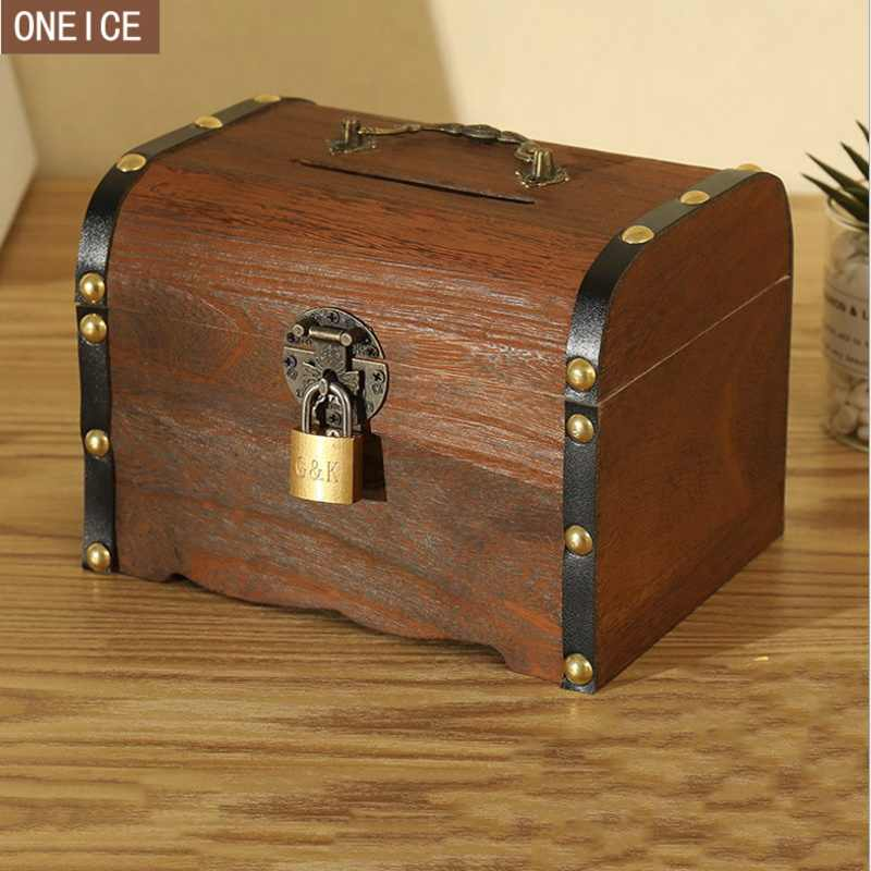Vintage piggy bank, wooden hand-made lockable children's coin box, large-capacity paper money and coins,Safe money saving box