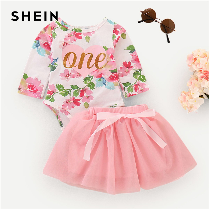 SHEIN Kiddie Pink Toddler Girls Floral Letter Print Knot Chiffon Casual Jumpsuit With Skirt 2019 Long Sleeve Cute Kids Sets tiny floral chiffon plus size slip handkerchief dress