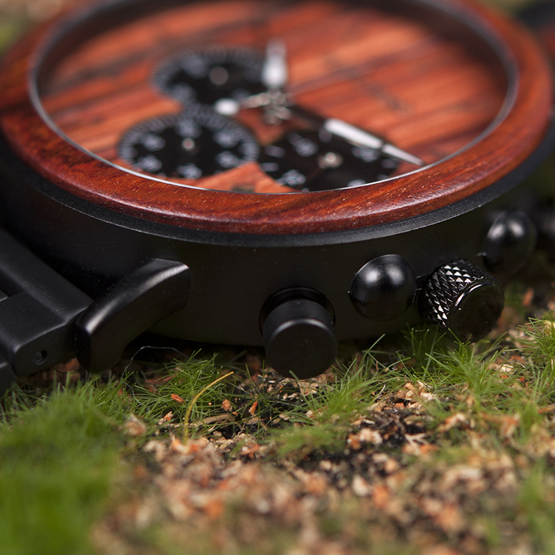 BOBO Bird Natural Wooden Chronograph Watch + Gift Box 19