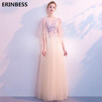 Robe De Soiree Evening Dresses Long Dress Tulle With Appliques Prom Party Gown 2019 Scoop Neck Evening Dress Vestido De Festa