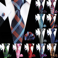 New Floral Ties Hanky Cufflinks Set for Men Fashion Men's Necktie Pocket Square Cufflinks Three Suits 8cm Silk Tie Wedding Party charming plating white steel cufflinks for men protractor set square pair