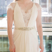 Plus Size Chiffon Ivory Bead Cap Sleeves V Illusion Neckline Lace Covered Back Zipper Button Hang Down Ribbon Wedding Dress 2017(China)