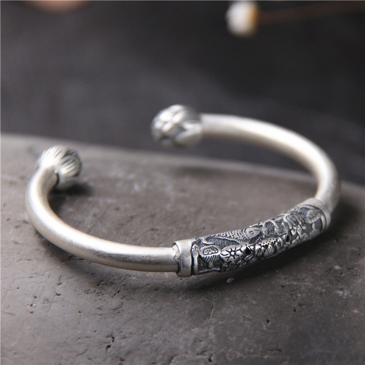 S990 Sterling Silver Bracelet Silver Fish Lotus Female Folk Style Retro Carved Open Bracelet s999 fine silver lotus pisces play lady bracelet wholesale sterling silver folk style ways openings