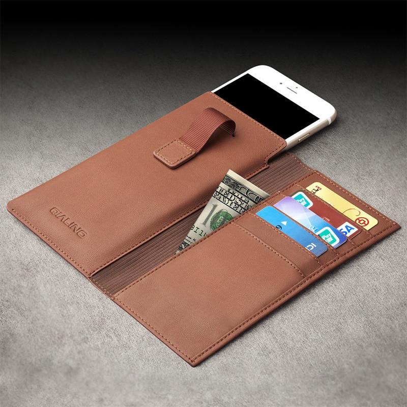 """imágenes para QIALINO Nuevo Caso Para el iphone 6 6 s 4.7 Caso Bolsa de La Carpeta Fundas para iphone 6 plus 6 s plus 5.5 """"Caso de cuero con Ranura Para Tarjeta de Lujo"""
