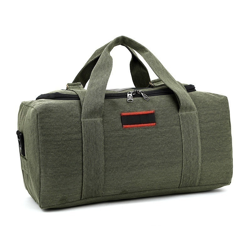 Large Capacity Canvas Cowhide Handbag Male Bag Travel Shoulder Bag Thick Travel Bag